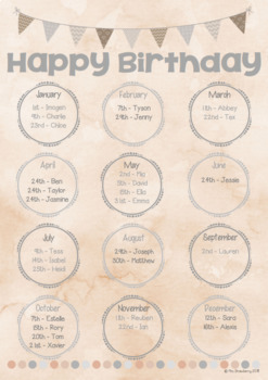 Natural Theme Birthday Chart **Editable**