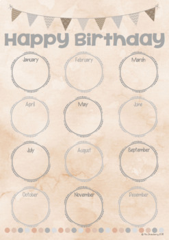 Natural Theme Birthday Chart Editable By Mrs