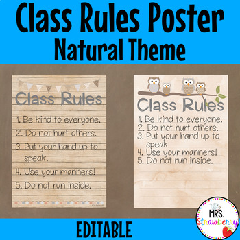 Natural Theme Class Rules Poster **Editable