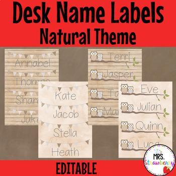 Natural Theme Desk Name Plates   Labels **Editable**