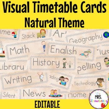 Natural Theme Visual Timetable Schedule Cards ** Editable