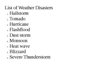 Natural Weather Disaster Project