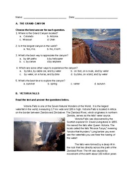 Natural Wonders - Listening and Reading Comprehension
