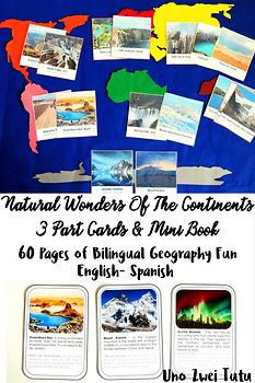 Natural Wonders Of The Continents 3 Part Cards Montessori Geography