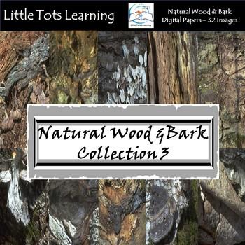 Natural Wood & Bark Digital Papers 3 - Natural Wood & Bark Backgrounds