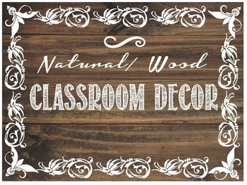 Natural/ Wood Classroom Decor Pack - Dark Wood