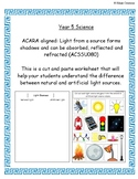 Natural and Artifical Light Sources Worksheet | Year 5 SCI