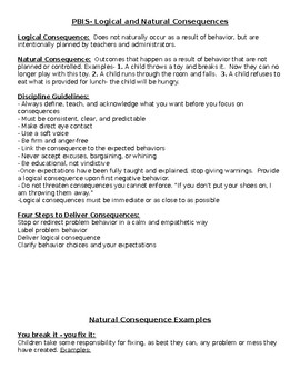 Natural and Logical Consequences Examples PBIS