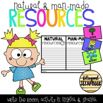 Natural and Man-made Resources Write the Room (English and Spanish)