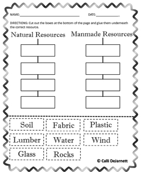 natural and manmade worksheets by calli dejarnett tpt. Black Bedroom Furniture Sets. Home Design Ideas