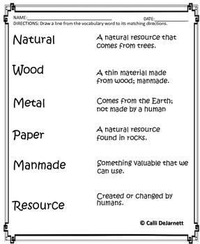 Natural and Manmade Worksheets