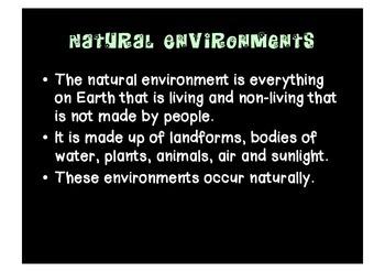 Natural and built (man-made) environments packet