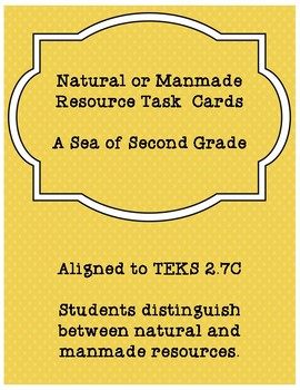 Natural or Manmade Resource Task Cards