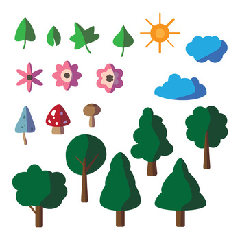 19 Nature Graphics | Trees, Flowers, Mushrooms, Leaves | Vector Clipart