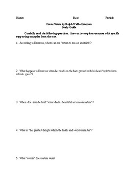 Nature - Comprehensive Study Guide - CCSS Aligned