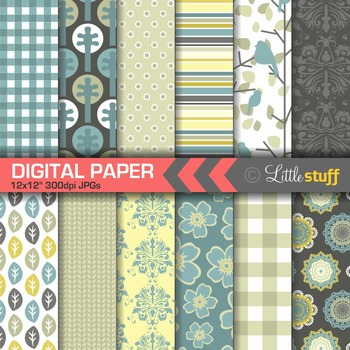 Nature Digital Paper Pack, Blue Yellow Taupe