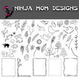 Nature Doodles and Accents Clip Art- Hand Drawn