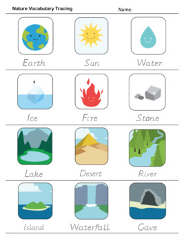 Nature & Elements - Poster, Flashcards, Bingo & Worksheet