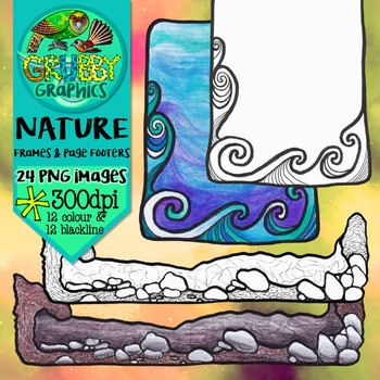 Nature Frames and Page Footers Clip Art