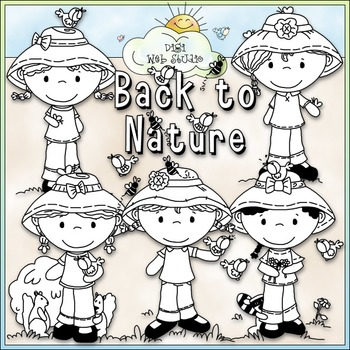 Nature Girls Clip Art Bundle - 2 Clip Art & B&W Sets