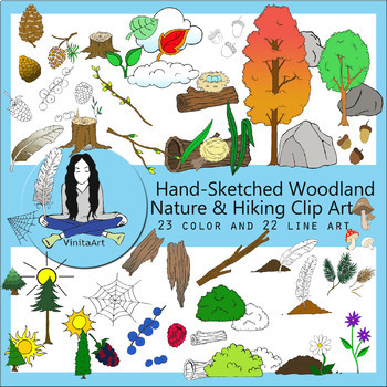 Nature, Hiking, Camping Clip Art bundle