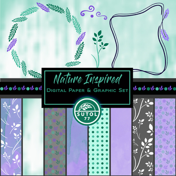 Nature Inspired Set ~ Digital Paper, Borders, Dividers & Graphic Elements