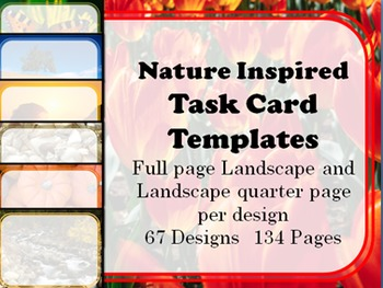 Nature Inspired Task Card Templates HUGE Collection 67 Designs 134 Pages