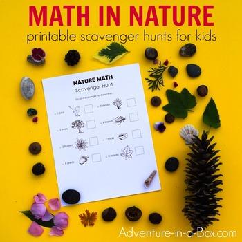 Nature Math Scavenger Hunt for Kids: 4 Printable Lists