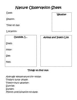 nature observation sheet by wordplay workshop teachers. Black Bedroom Furniture Sets. Home Design Ideas