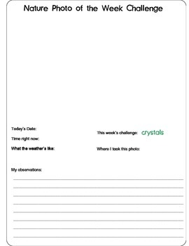 Nature Photography Challenge Notebook