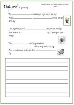 Nature Poem resource - vocabulary and templates.
