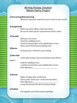 Nature Poetry Project: Editable Rubric