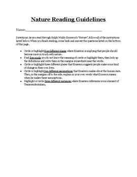 Nature Reading Guidelines and Questions