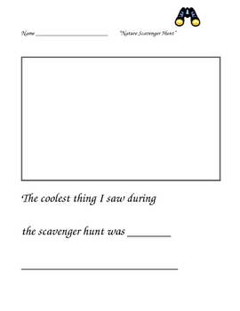 Nature Scavenger Hunt Writing Prompt for primary students