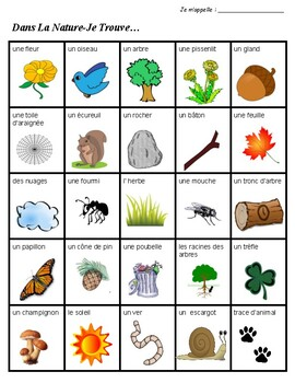 Scavenger Hunt List >> Nature Scavenger Hunt in FRENCH- Whole Class Activity! by KidsLoveSchool