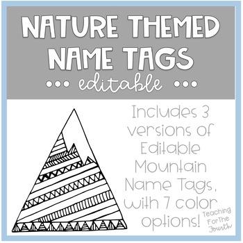 Nature Theme Name Tags EDITABLE