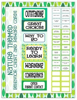 Nature Themed Behavior Clip Chart
