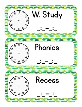Nature Themed Classroom Schedule