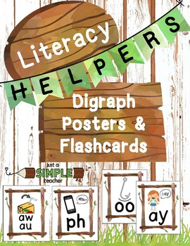 Nature-Themed Digraph / Diphthong Bulletin Board Posters & Flashcards