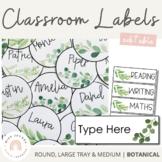 Nature Themed Editable Classroom Labels   Botanical Decor