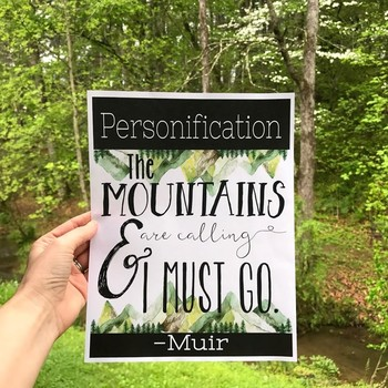 Nature-Themed Literary Device Posters, Transcendentalism, Nature Decor