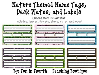 nature themed name plates name tags and labels printable tpt