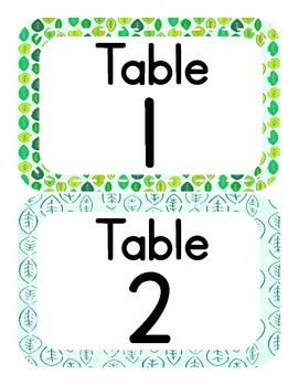 Nature Themed Table Numbers (only)