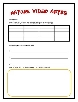 Video Note Taking Worksheets Teaching Resources Tpt