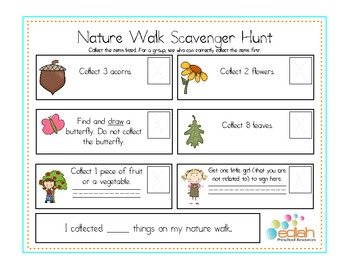 Nature Walk Activity/Scavenger Hunt