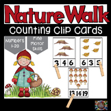 Nature Walk Counting Number Clip Cards 1 - 20 No prep Math Center Cards ABA