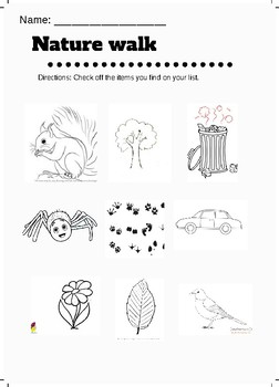 Nature Walk Hunt Worksheet