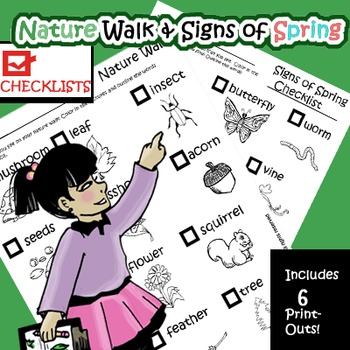 Nature Walk & Signs of Spring Checklists and Coloring Pages