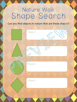 Nature Walk Treasure Hunt, Games, Journal featuring Shapes, Colors, and Textures