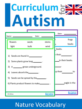 Nature Wildlife Facts Fill-In-The-Blanks Autism UK Spelling